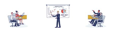 Concept Of Financial Statements. Expert Giving Employee Lecture Of Presentation Of Financial Performance On Graph Standing At Whiteboard. Cartoon Linear Outline Flat Style. Vector Illustrations Set