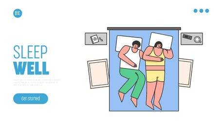 People Bedtime And Night Snoring Concept. Website Landing Page. Married Couple Sleeping Hugged On Comfortable Double Bed At Home Or In Hotel. Web Page Cartoon Linear Outline Flat Vector Illustration