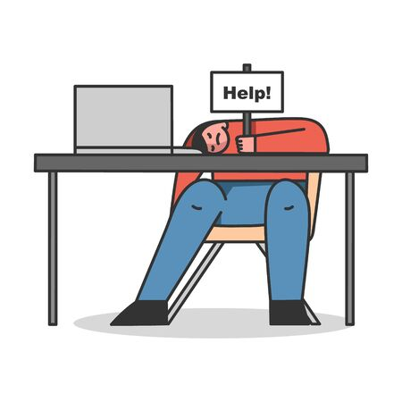 Concept Of Emotional Burnout Syndrome, Hard Working. Exhausted Tired Man Sleeping At Workplace On The Desk. Character Holds Plate With The Sign Help. Cartoon Linear Outline Flat Vector Illustration Иллюстрация
