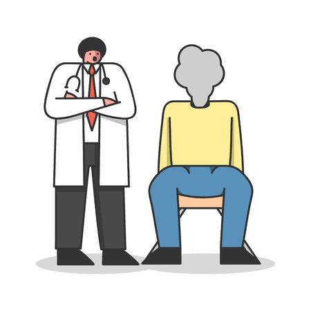 Emotional Burnout. Emotionally Drained Male Character Sit On Chair With Smoked Head. Doctor Offers A Burnout Treatment Program For Employees. Cartoon Linear Outline Flat Style. Vector Illustration Illustration
