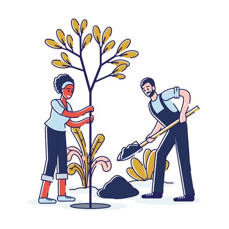 Concept Of Gardening And Farming. People Plant Tree In A Park. Man Dig Soil, Woman Hold Sapling. Activists Working Outdoors, Greening Planet Together. Cartoon Linear Outline Flat Vector Illustration 向量圖像