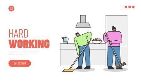 Concept Of Cleaning Service. Website Landing Page. Man And Women Sweeping The Floor On The Kitchen Illustration