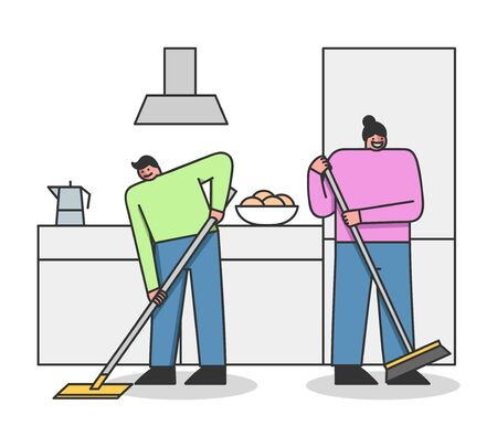 Concept Of Cleaning Service. Cleaning Stuff Clean Apartment. Man And Women Sweeping The Floor On The Kitchen Illustration