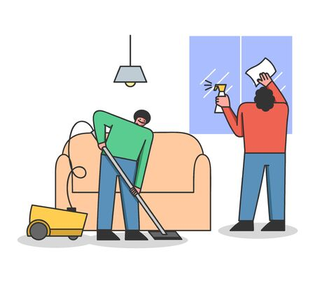 Concept Of Cleaning Service. Cleaning Stuff Clean Apartment. Man And Women Vacuuming Floor And Clean Windows