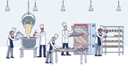 Concept Of Modern Manufacturing Process In Bakery. People Kneading Dough, Make Croissants, Bread And Cupcakes And Put It To Oven For Baking. Cartoon Linear Outline Flat Style. Vector Illustration