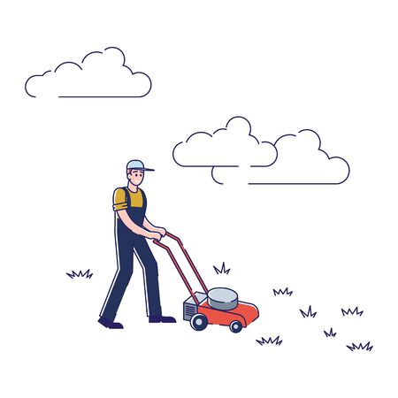 Gardening And Farming Concept. Man Working On Farm. Character Is Mowing Lawn With Lawn mower. Seasonal Agricultural Work. Agriculture and Garden Job. Cartoon Linear Outline Flat Vector Illustration