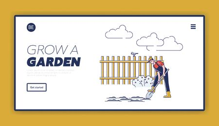 Gardening And Farming Concept. Website Landing Page. Man Is Digging Soil Use Shovel. Seasonal Agricultural Work. Agriculture and Garden Job. Web Page Cartoon Linear Outline Flat Vector Illustration Imagens