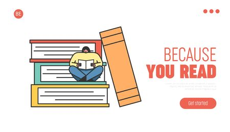 Online Digital Library Concept. Website Landing Page. Female Character Reading Sitting On Stacks Of Books. Online Education Platform. Web Page Cartoon Linear Outline Flat Style. Vector Illustration