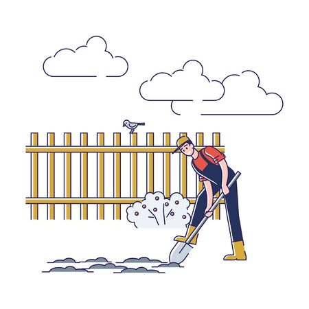 Gardening And Farming Concept. Man Working On Farm. Cheerful Character Digging Soil Use Shovel. Seasonal Agricultural Work. Agriculture and Garden Job. Cartoon Linear Outline Flat Vector Illustration