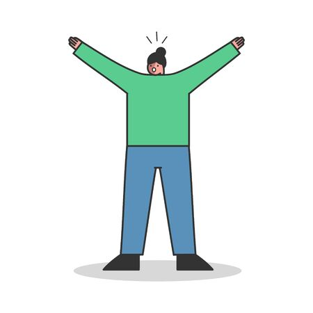 Woman screaming scared. Female cartoon character shout afraid in panic over white background. Terrified robbed girl shouting in shock and desperation. Flat vector illustration