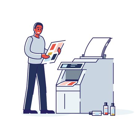 Printing house worker standing at copy machine with photocopy document. Modern polygraphy office
