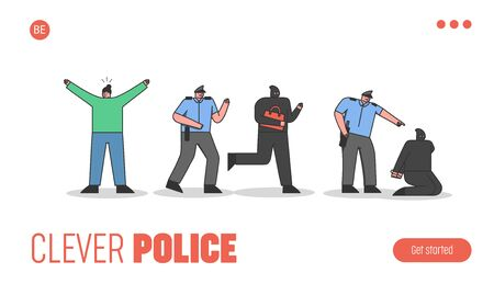 Police arresting criminal. Template landing page with cartoon constable patrol helping robbed woman