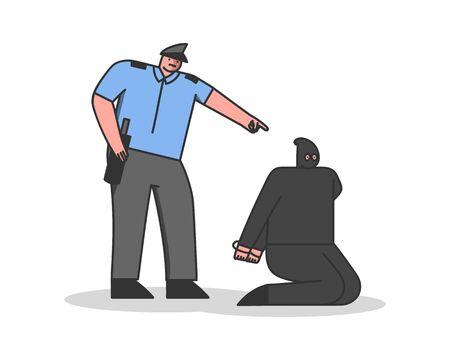 Cartoon policeman arrest robber in balaklava mask. Police officer catch bandit criminal