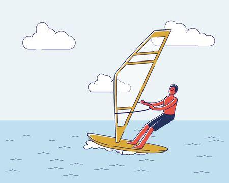 Man riding windsurf board. Male cartoon character windsurfing in ocean. Extreme summer water activity Illustration