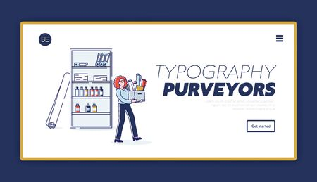 Typography purveyors template landing page. Printing and polygraphy service website homepage