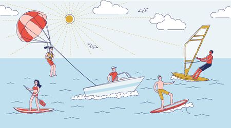 Summer water activities. People in water surfing, on sup board, parasailing and windsurfing Illustration