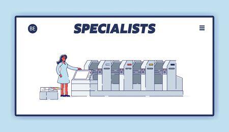 Professional typography center website landing page template. Printshop service concept Vettoriali