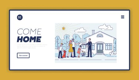 Real estate agency landing page design with cartoon family purchasing new house