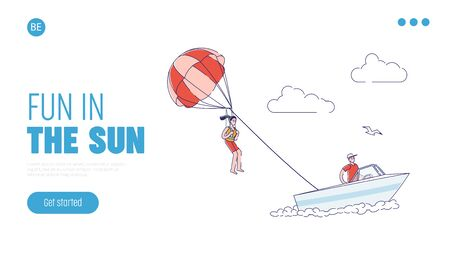 Seaside vacation activity banner with girl parasailing in sky. Template landing page design Illustration