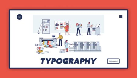 Typography service and printshop website landing page. Polygraphy and printing company concept