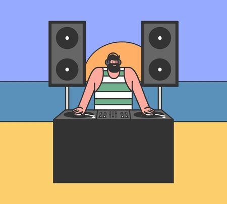 Concept Of Beach Party. Cool Famous DJ Plays Dance Music Outdoors On The Evening Ocean Beach Illustration