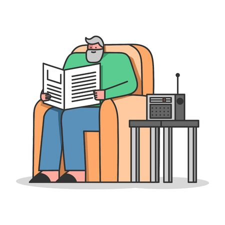 Concept Of Elderly People Leisure. Senior Man Is Reading Newspaper, Listen To The Radio Sitting In Armchair Illustration