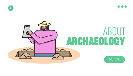 Archeology Excavation Concept. Website Landing Page. Archaeologist Woman Researching And Making Excavation