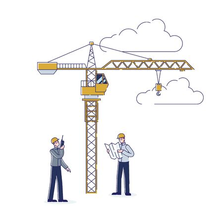 Concept Of Construction. Workers Working Together Outdoors. Engineer And Contractor Discussing New Building Project. Foreman Controls Tower Crane Work. Cartoon Linear Outline Flat Vector Illustration