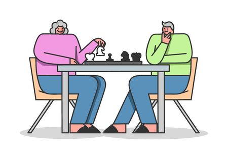 Concept Of Elderly People Leisure. Retirement People Man And Woman Play Chess And Have Fun Illustration