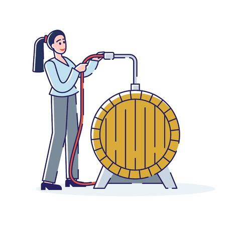 Wine Production Concept. Smiling Woman Technologist Works On Wine Plant. Character Controls Process Of Fermenting Ilustración de vector
