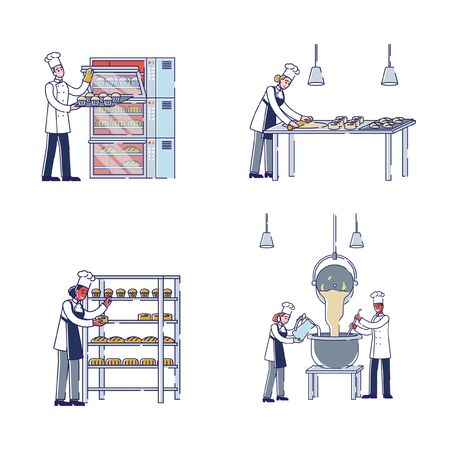Manufacturing Process In Bakery Concept. Characters Kneading Dough, Make Bakery Products, Put It To Oven For Baking, Put Baked Goods To Showcase. Cartoon Linear Outline Flat Vector Illustrations Set Vectores