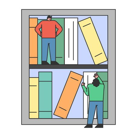 Online Digital Library Concept. Man And Woman Choosing Necessary Books For Reading Online