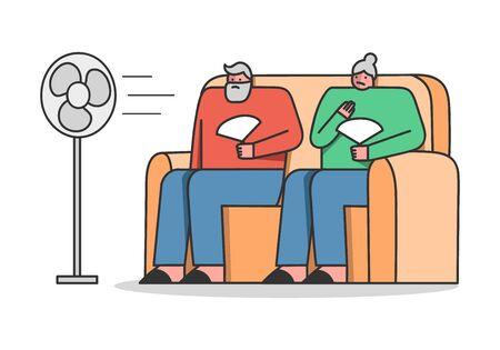 Concept De Période Chaude D'été. Étouffant dans la chaleur, les personnes âgées assises sur un canapé utilisent des ventilateurs pour obtenir un peu de chaleur pendant les chaudes journées d'été. Illustration vectorielle de dessin animé contour linéaire style plat Vecteurs