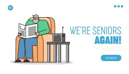 Concept Of Elderly People Leisure. Website Landing Page. Senior Man Is Reading Newspaper And Listen To The Radio