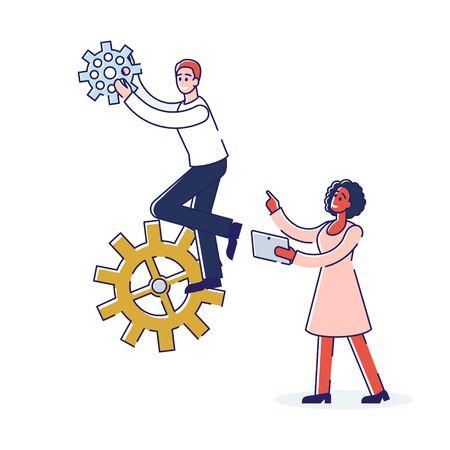 Teamwork And Brainstorm Concept. Man And Woman Work Together. Woman Correcting Man s Job