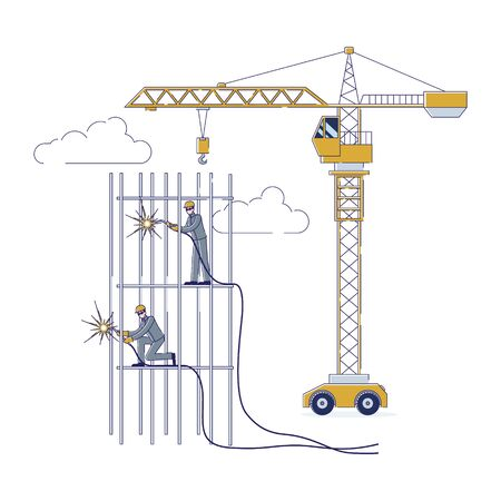Concept Of Construction. Workers Working Together Outdoors. Characters Welding Metal Frame Using Welding Machines