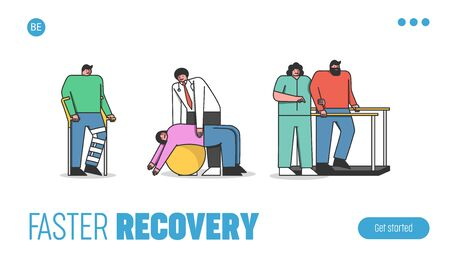 Rehabilitation Concept. Website Landing Page. Kind Cheerful Doctors Help Injured People To Do Exercises