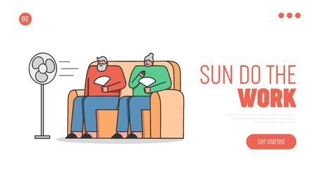 Summer Hot Period Of Time. Website Landing Page. Aged People Sitting On Sofa Use Fans To Get Little Bit Cool Of Heat