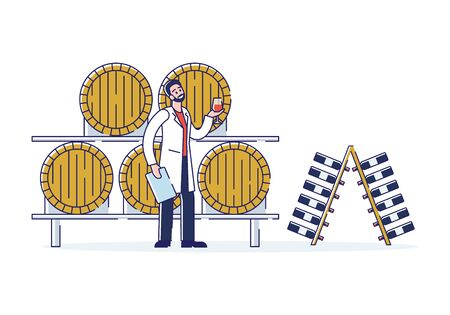 Wine Production Concept. Smiling Man Technologist Works On Wine Plant. Character Is Tasting Wine In Cellar