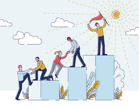 Success In Business Or Career Concept. Businessmen Climbing Career Ladder. People Stand On Podiums With Leader