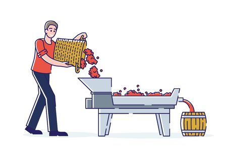 Wine Production Concept. Smiling Male Character Works On Wine Plant. Character Empties Harvested Grapes