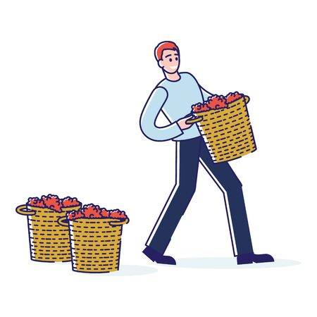 Concept Of Wine Production. Character Works On Grape Plantation On Wine Plant. Man Is Harvesting Grapes Carrying It In Basket For Processing. Cartoon Linear Outline Flat Style Vector Illustration