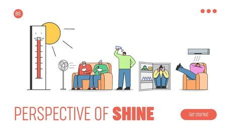 Concept Of Summer Hot Period Of Time. Website Landing Page. People Sitting Indoor Weary From Heat, Use Fan