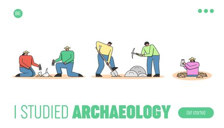 Archeology Excavation Concept. Website Landing Page. Group Of Archaeologists Making Excavation Of Ancient Remains