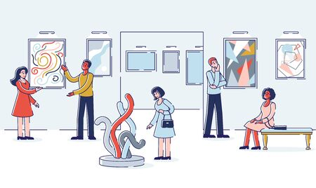 Modern Art Concept. Group Of People Visit Art Gallery, Looking And Admire Of Exhibition