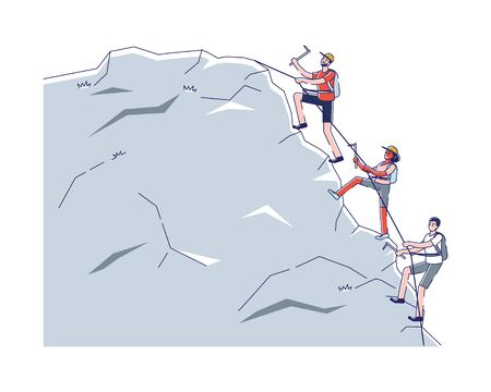 Concept Of Alpinism And Activity Sport. Male And Female Characters Climb Up Mountain Use Professional Alpinists Tools