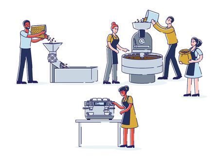 Coffee production stages - coffeehouse workers roasting, grinding beans and making coffee Ilustrace