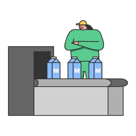 Concept Of Dairy Production. Woman Milk Factory Worker In Uniform Controls Quality Of Production Packaging On Conveyor Belt On Milk Plant Or Factory. Cartoon Linear Outline Flat Vector Illustration