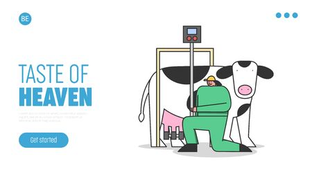 Concept Of Dairy Production. Website Landing Page. Woman In Uniform Connecting Milking Machine To Cow