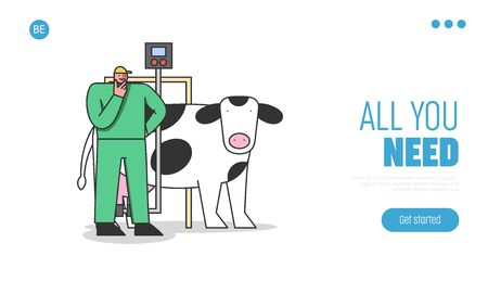 Concept Of Dairy Production. Website Landing Page. Man Milk Factory Worker In Uniform Controls Process Of Milking Cows